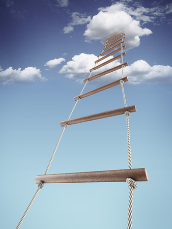 Rope-ladder to the sky isolated on a white background. 3d render photo