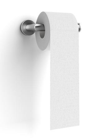 papel de baño: papel higiénico en el soporte aislado en un fondo blanco. 3d