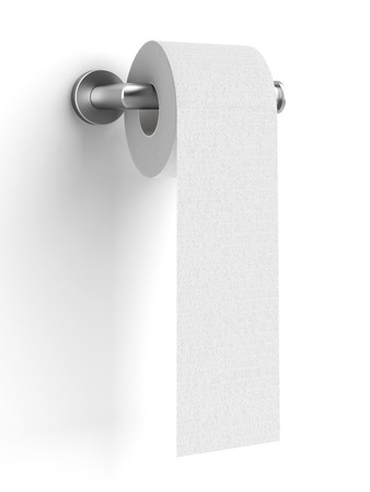 toilet paper on holder  isolated on a white background. 3d render photo