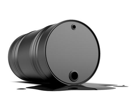 barell: spilling oil from the barrel isolated on a white background. 3d render Stock Photo