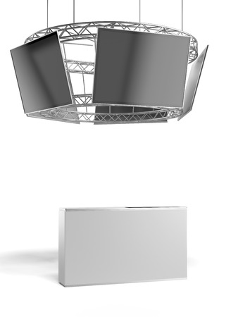 Circle exhibition stand with tv and table isolated on a white background. 3d render photo
