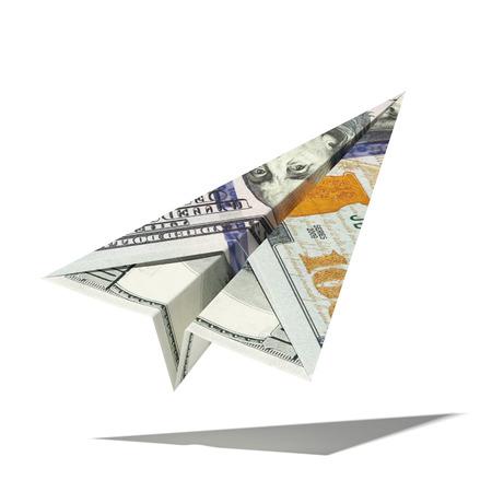 紙ドルの飛行機が白い背景に分離されました。3 d のレンダリング 写真素材