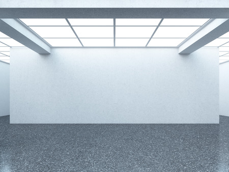 Bright empty gallery interior with white wall. 3d render photo