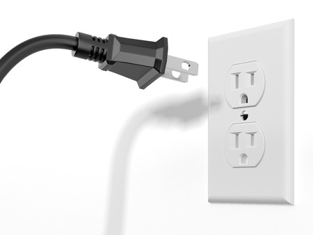electric outlet: black plug and white socket isolated on a white background. 3d render