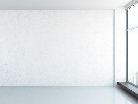 큰 창문과 밝은 인테리어. 3d 렌더링
