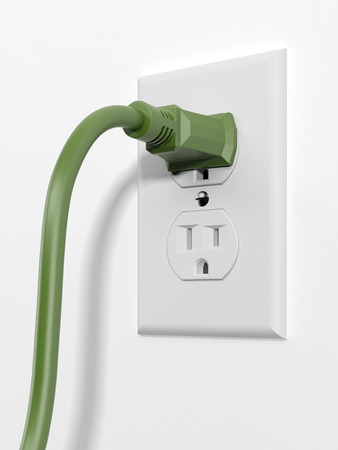 electric hole: green us style plug with socket  isolated on a white background. 3d render