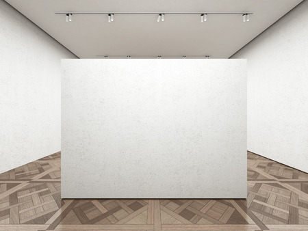 Empty art gallery with white wall. 3d render
