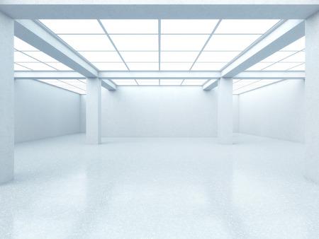 창 밝은 빈 갤러리 내부. 3d 렌더링 스톡 콘텐츠