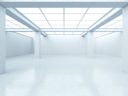 Bright empty gallery interior with window. 3d render photo