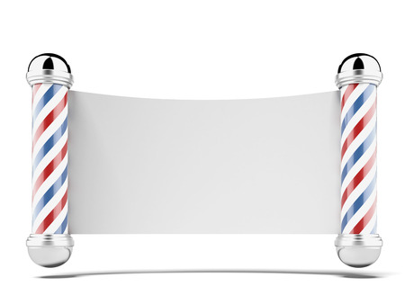 peluquerias: Dos tiendas arber polacos aislados en un fondo blanco. 3d