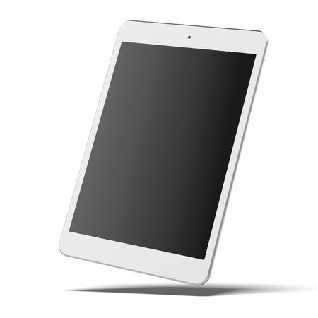Modern white tablet pc isolated on a white background. 3d render photo