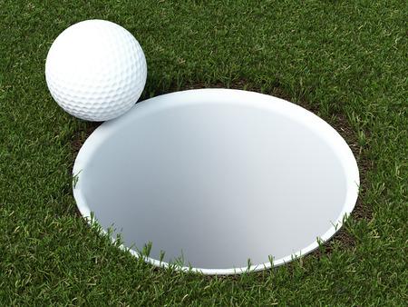 golf ball on lip of cup. 3d render Фото со стока