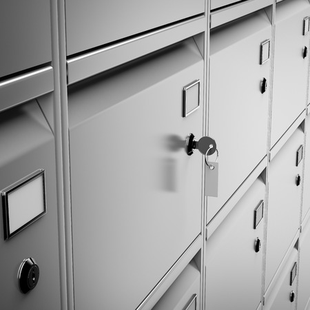 safety deposit box: Deposit safe bank and key isolated on a white background. 3d render