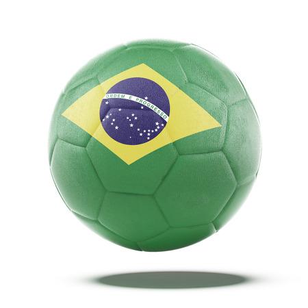 Voetbal bal met de Braziliaanse vlag geïsoleerd op een witte achtergrond. 3d render Stockfoto - 27127427