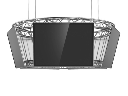 Circle exhibition stand with tv isolated on a white background. 3d render photo