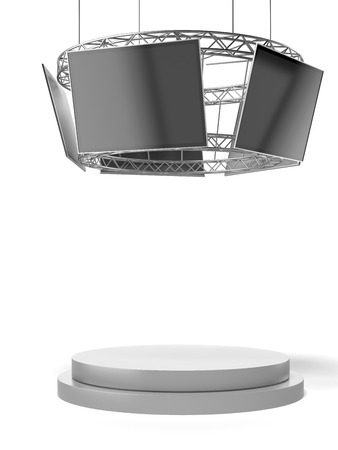 Circle exhibition stand with tv and pedestal  isolated on a white background. 3d render photo