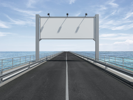big blank billboard  on the highway. 3d render photo
