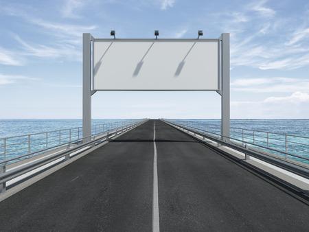 big blank billboard  on the highway. 3d render
