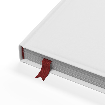 hardcover book: White book with red bookmark isolated on a white background. 3d render Stock Photo