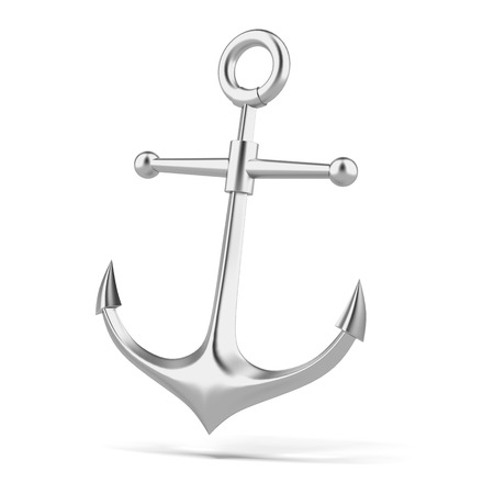 silver anchor  isolated on a white background. 3d render photo
