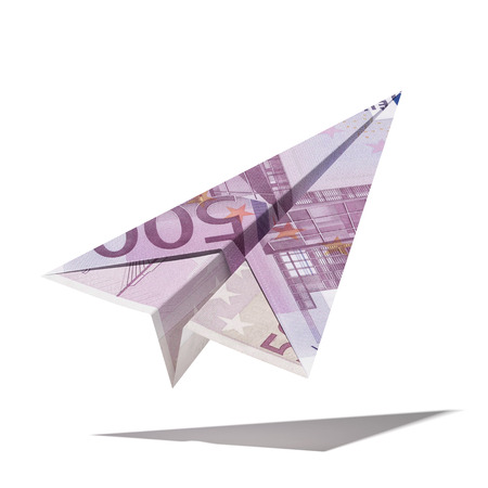 paper plane made with a euro bill  isolated on a white background. 3d render photo