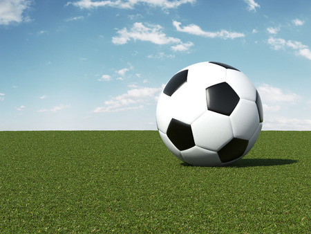 play ground: Soccer ball on green field. 3d render