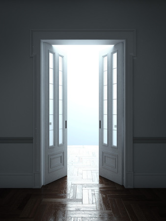 room door: Opened Doors With Bright Light isolated on a white background. 3d render