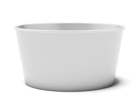 tub: Taza de papel en blanco aislado en un fondo blanco. 3d