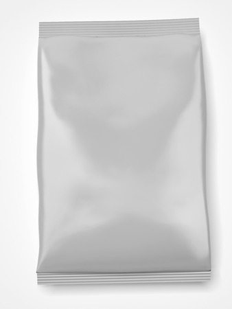 Blank Foil Food Bag  isolated on a white background. 3d render photo