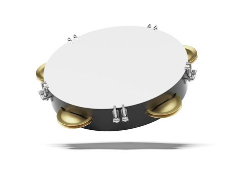 pandero: Pandereta en blanco aislado en un fondo blanco. 3d