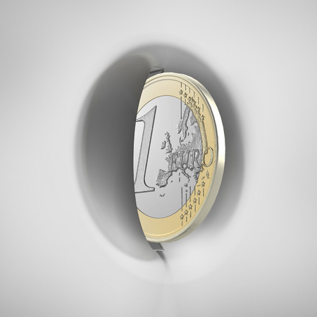 White coin slot panel with one euro isolated on a white background. 3d render photo