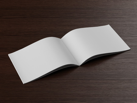 Open  brochure on a wooden table. 3d render photo