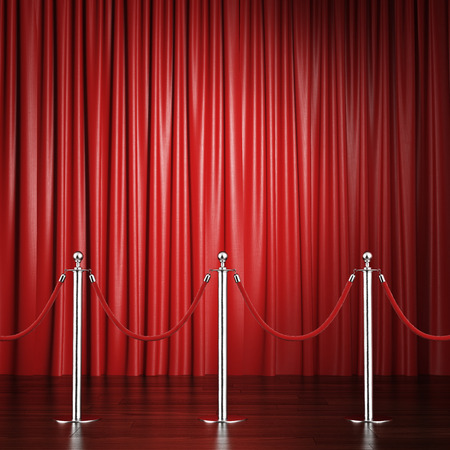 red rope barrier with a curtain. 3d render photo