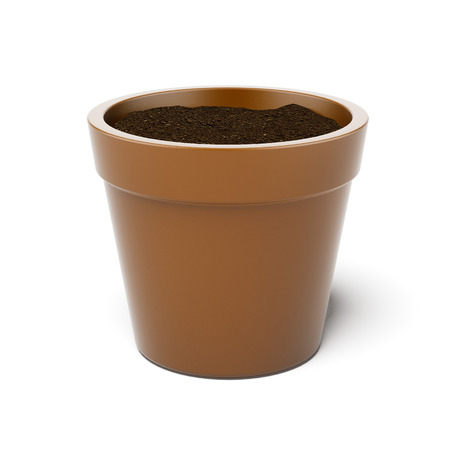 castings: pot filled with potting soil  on a white background. 3d render