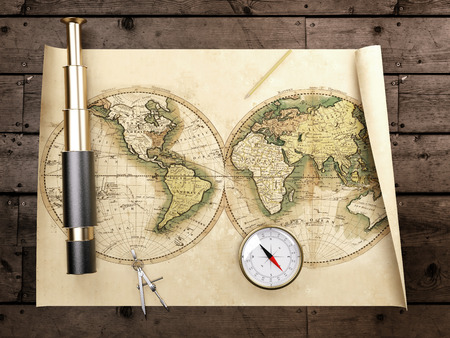 Vintage telescope on antique map. 3d render Zdjęcie Seryjne