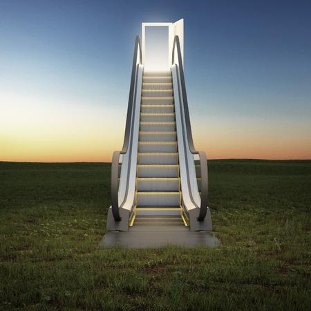 pursue: escalator to the sky in night field. 3d render
