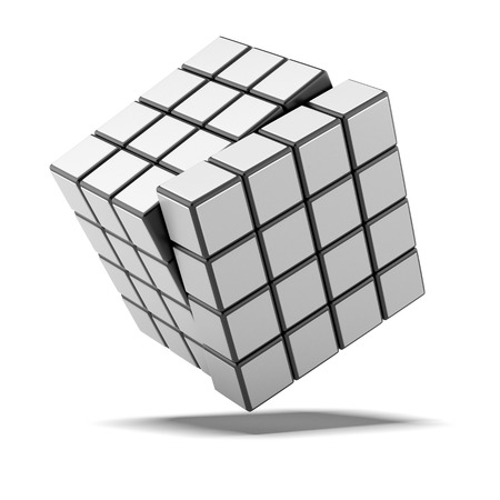 Cube with white sides isolated on a white background. 3d render photo