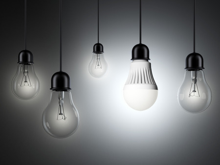 row of light bulbs and glowing LED bulb. 3d render photo