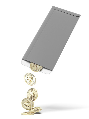 finanical: Dollar coins in envelope  isolated on a white background. 3d render Stock Photo