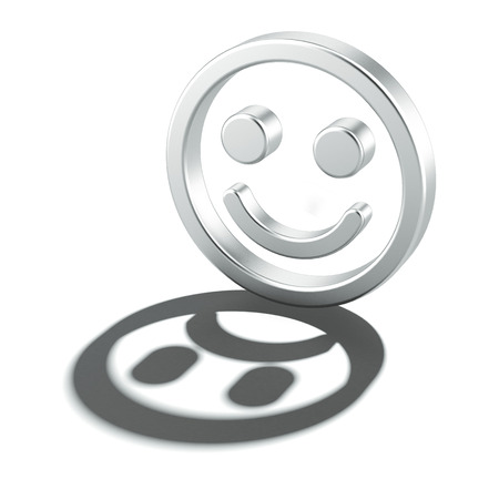 nice day: Cheerful smiley with sad shadow isolated on a white background. 3d render Stock Photo