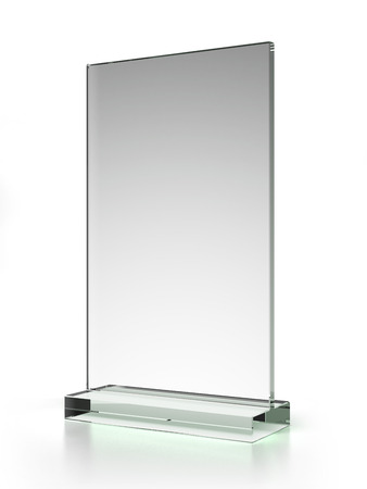 transparent ad plate isolated on a white background. 3d render photo