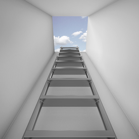 Ladder leading up to the light . 3d render photo