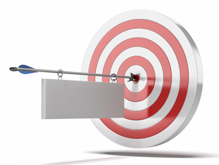 precise: Target and arrow with plate isolated on a white background. 3d render Stock Photo