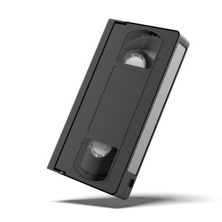 videocassette: casete vhs clásico aislado en un fondo blanco. 3d