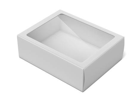 Blank Box with Transparent Window isolated on a white background. 3d render photo