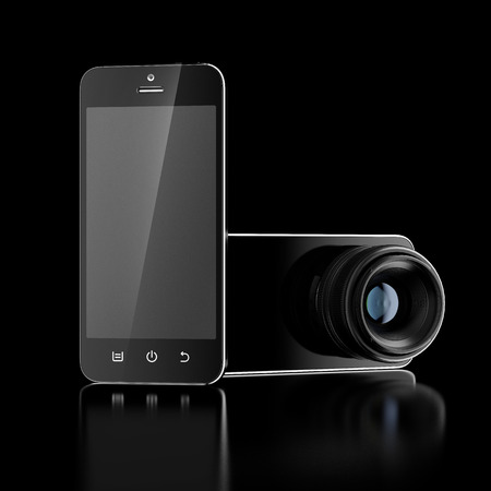 Phone with camera lens isolated on a black background. 3d render Stock Photo