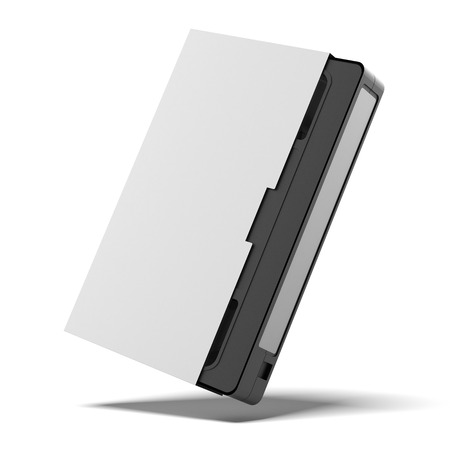 vhs videotape: classic vhs cassette in cover isolated on a white background. 3d render Stock Photo