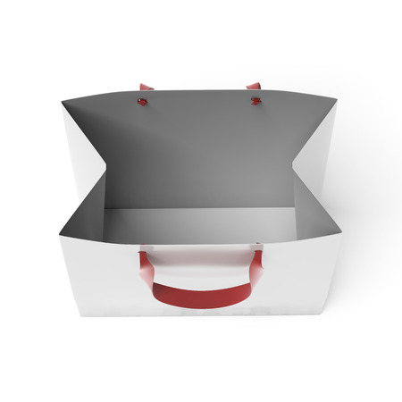 Empty white paper bag isolated on a white background. 3d render photo