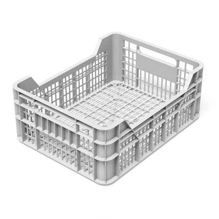 empty white crate  isolated on a white background. 3d render photo