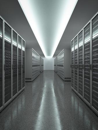 rechenzentrum: Data Center mit langen Reihe von Servern. 3d render Lizenzfreie Bilder